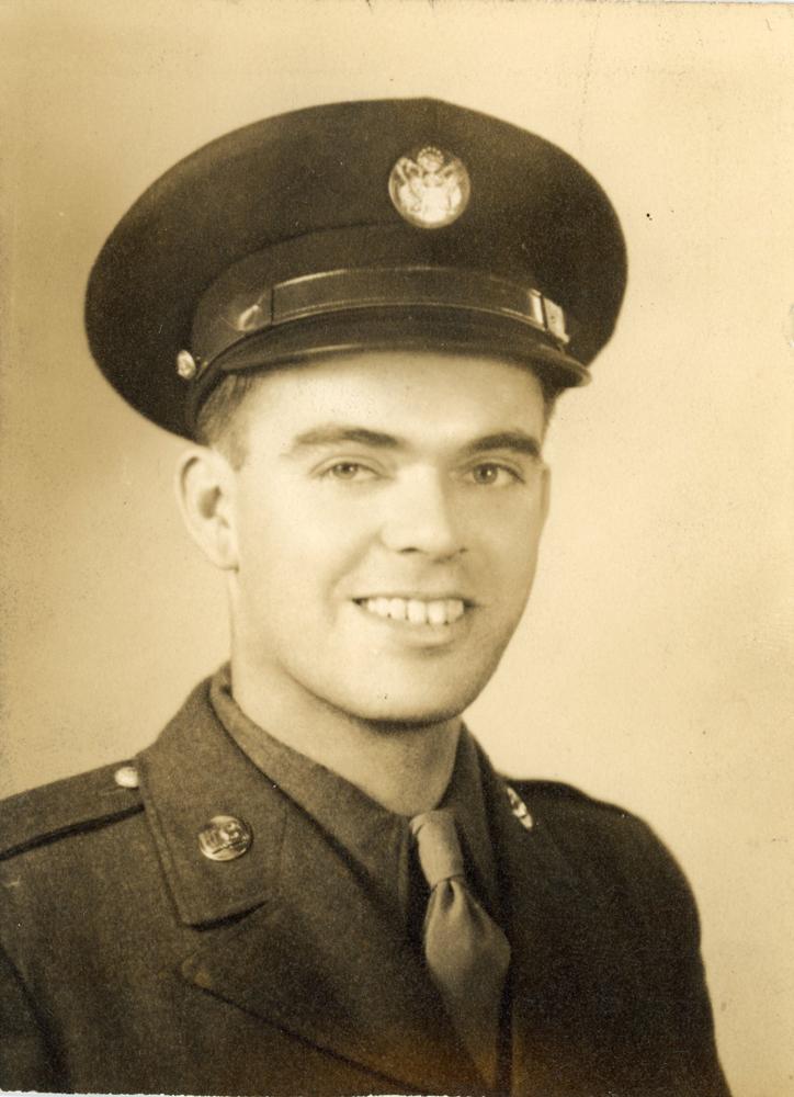 The bank's first customer John J. Beach wearing a military uniform