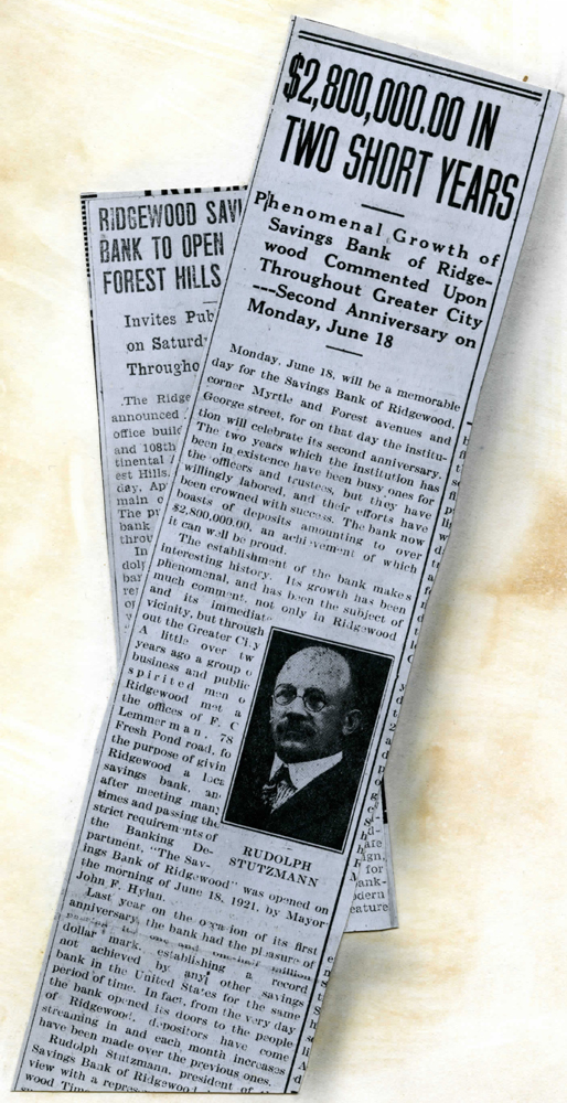 Newspaper clipping announces the bank reached two point eight million dollars in deposits in its first two years