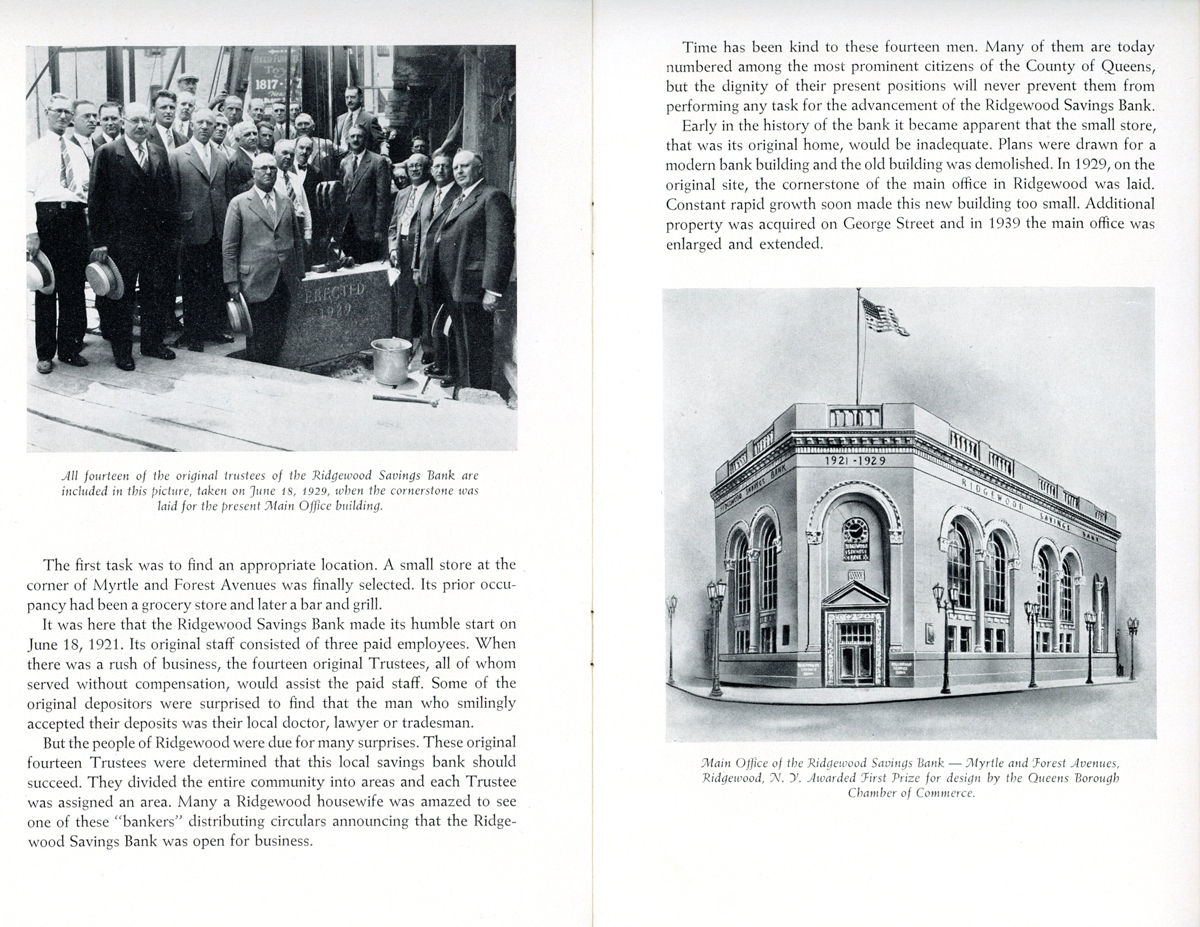 The bank's twenty-fifth anniversary booklet showing headquaters.