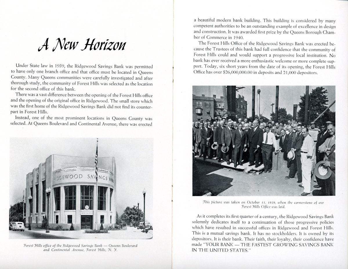 The bank's twenty-fifth anniversary booklet showing the Forest Hills branch.