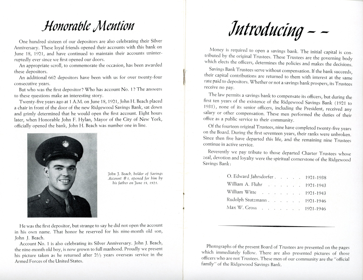 The bank's twenty-fifth anniversary booklet showing honorable mention of John J.Beach.