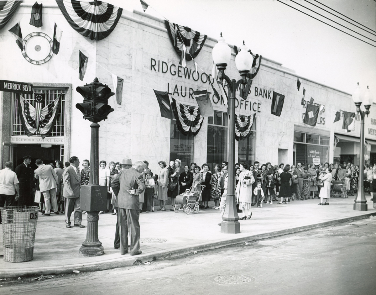 Historic photo of the Laurelton branch grand opening