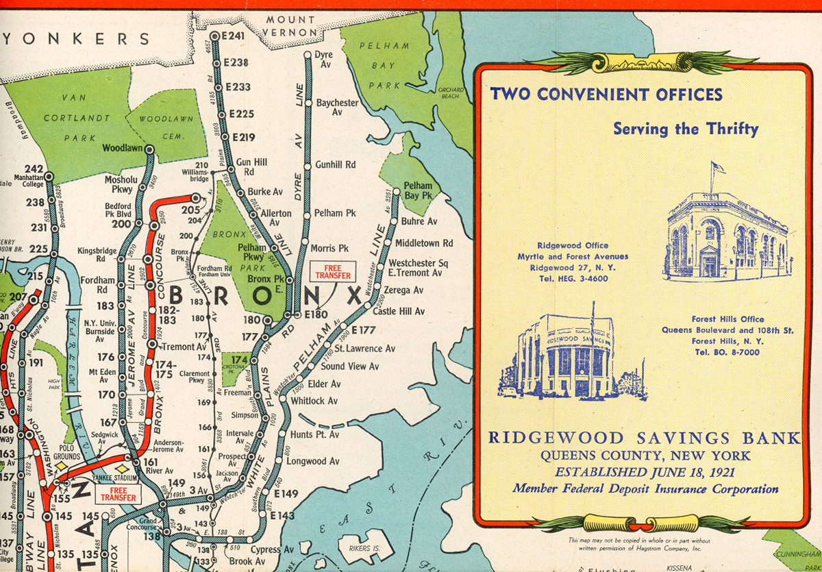 A New York City bus map with an advertisement for Ridgewood's home financing