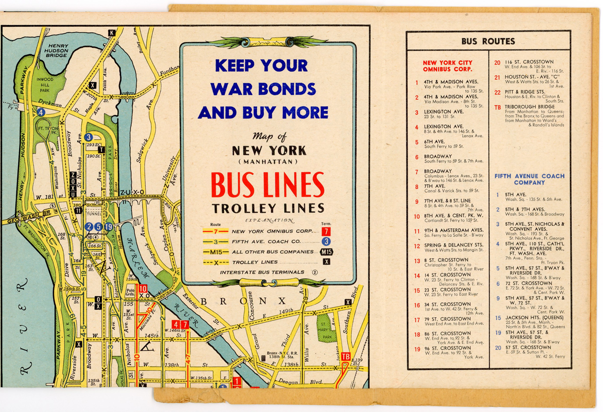 A bus map from the 1940s with an advertisement about buying war bonds