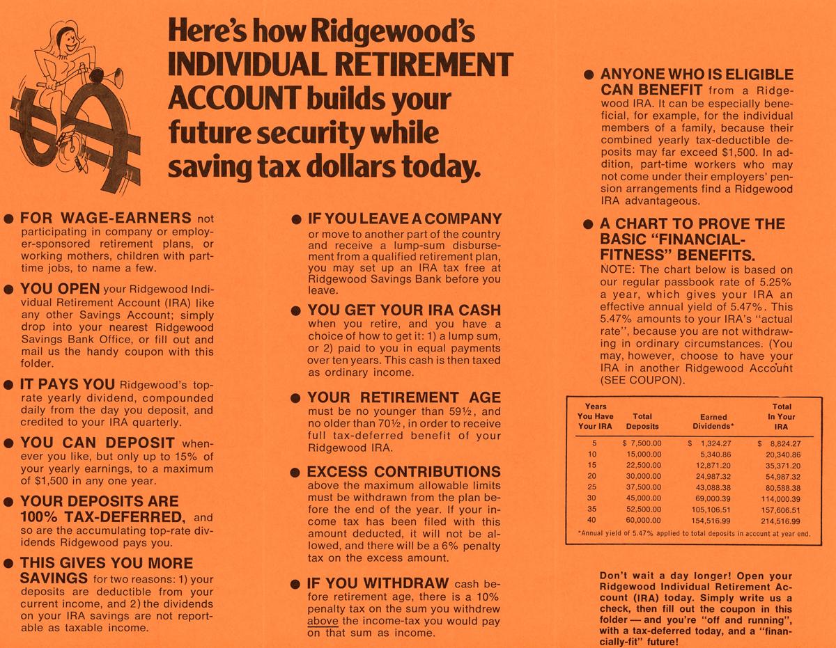 Inside of retirement account brochure listing account details