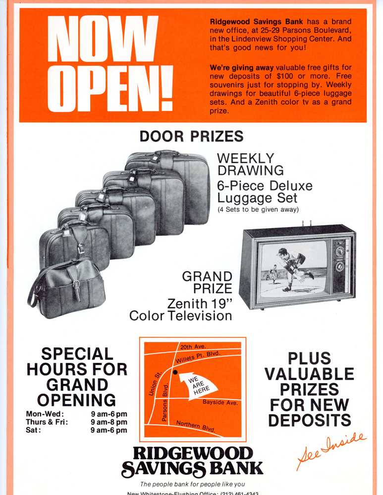 An advertisement for the newly opened Whitestone branch with photos of prizes