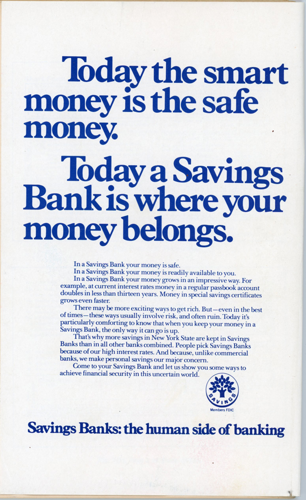 A pamphlet explains the benefits of keeping your money in a savings bank
