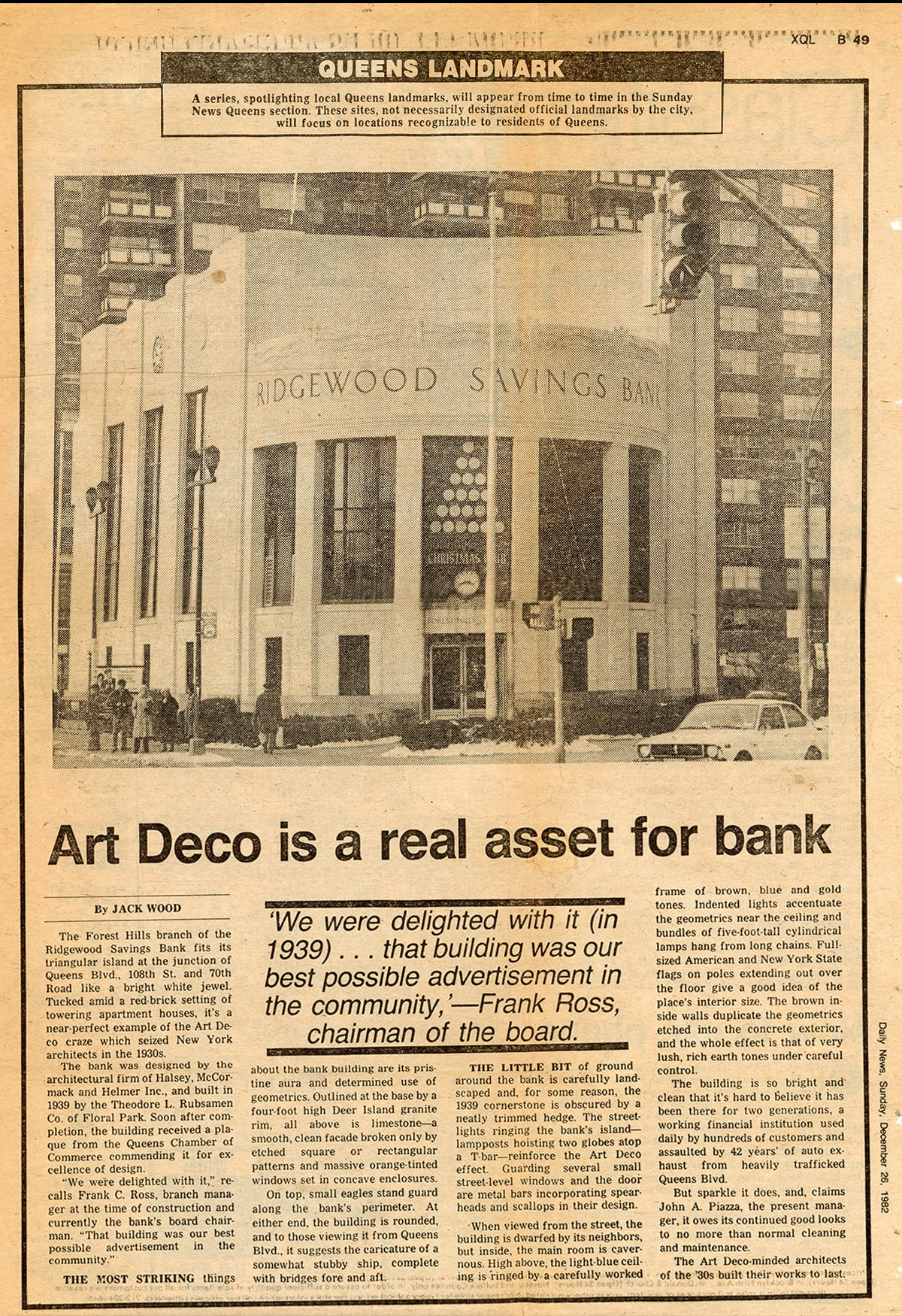 A newspaper clipping shows a photo of Ridgewood's Forest Hills location