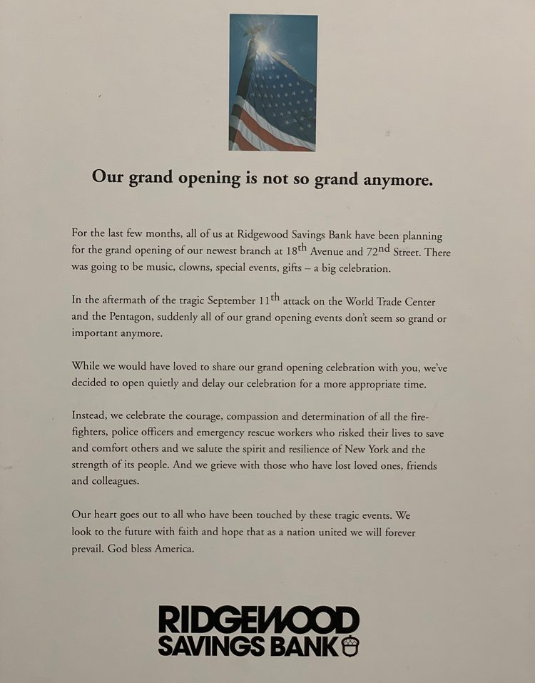 A letter announces the cancellation of a branch grand opening event following the attacks of September eleventh