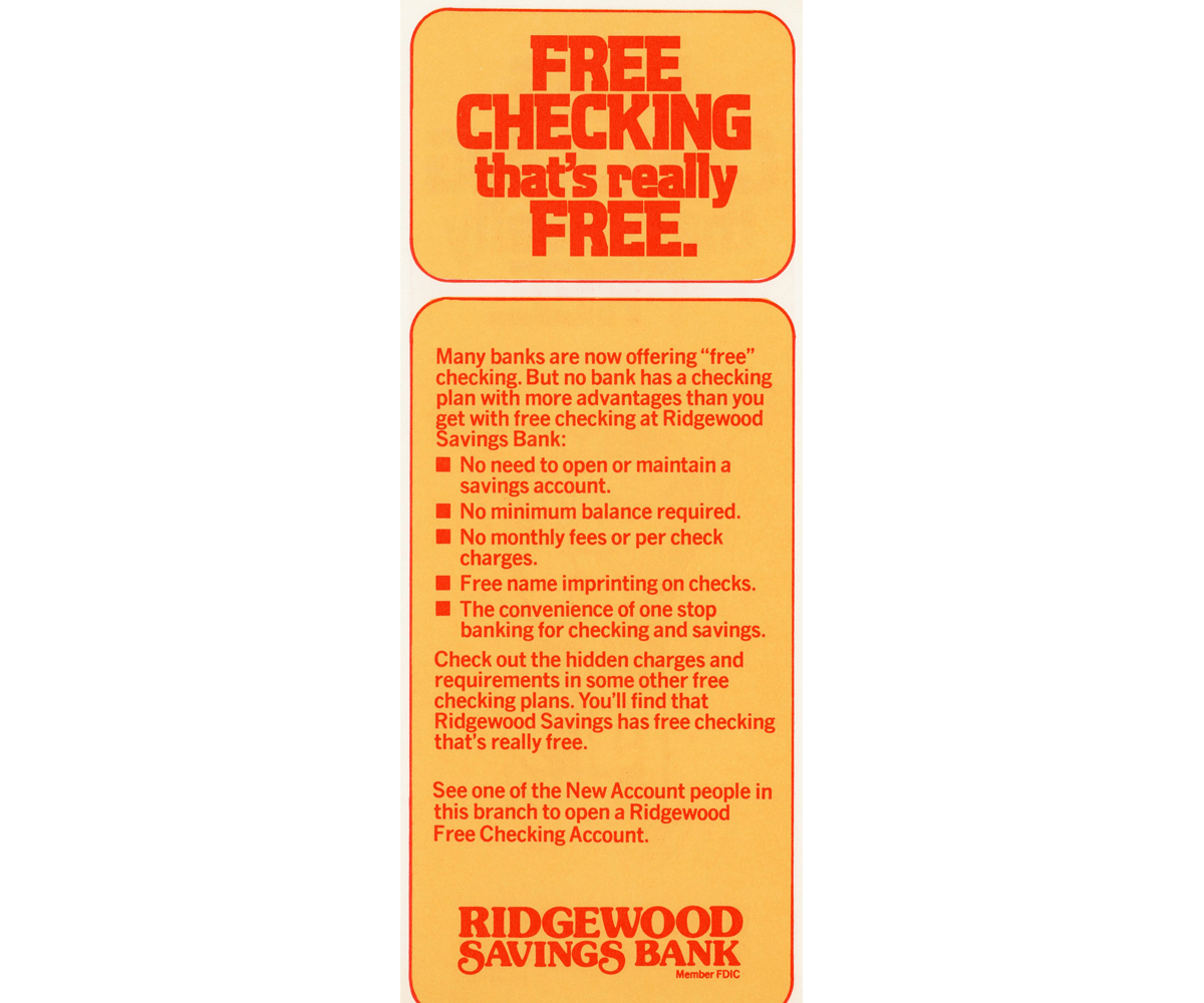 Back cover of free checking account brochure listing account details