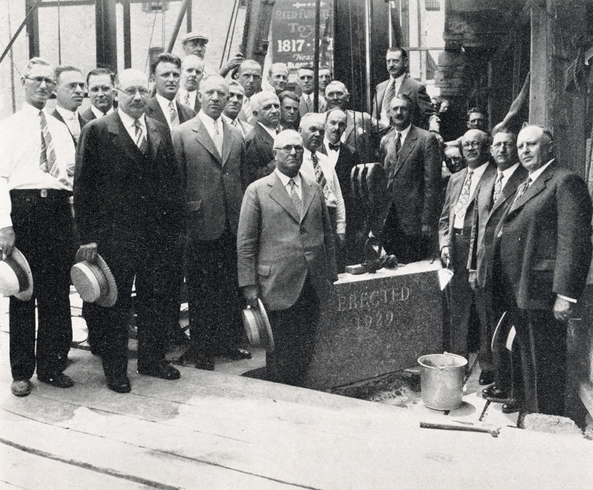 Bank founders laying the cornerstone for Ridgewood's headquarters.