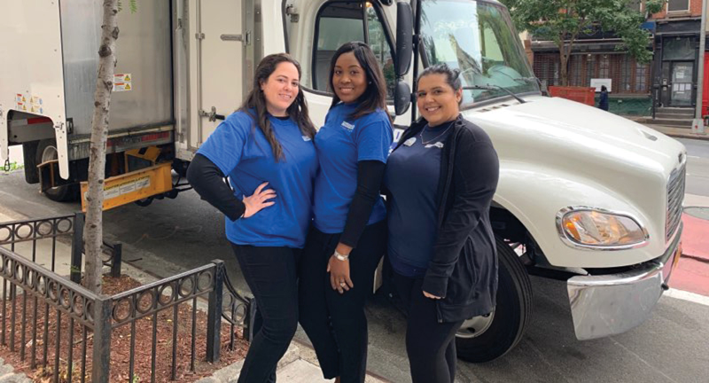 Volunteers at a shredding event.