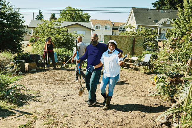 Volunteers at a community garden.