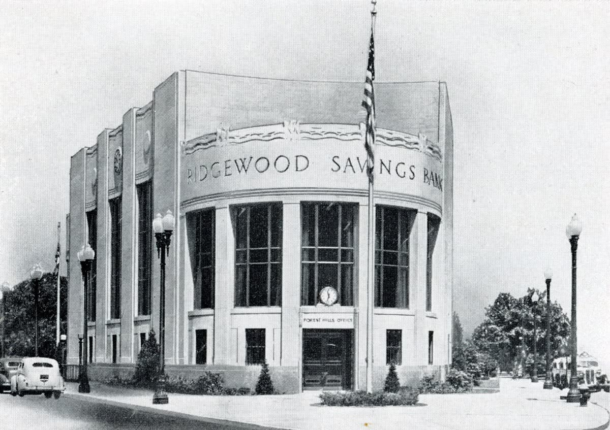 A booklet celebrating the bank's twenty-fifth anniversary shows a picture of the Forest Hills branch